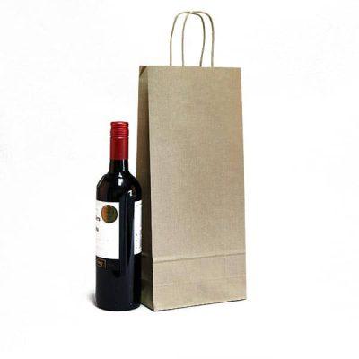 sacchetti portabottiglie vino kraft avana maniglia ritorta