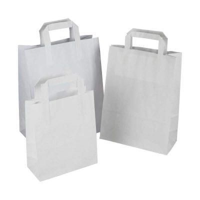 shopping bags kraft bianco maniglia piatta