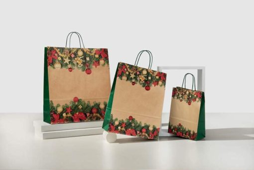 Buste carta natalizie cortina manico ritorto sealing avana