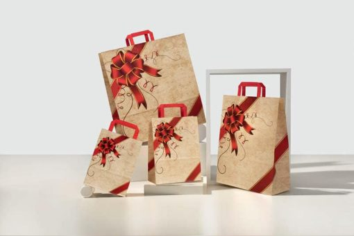 Buste carta natalizie.ribbon rosso