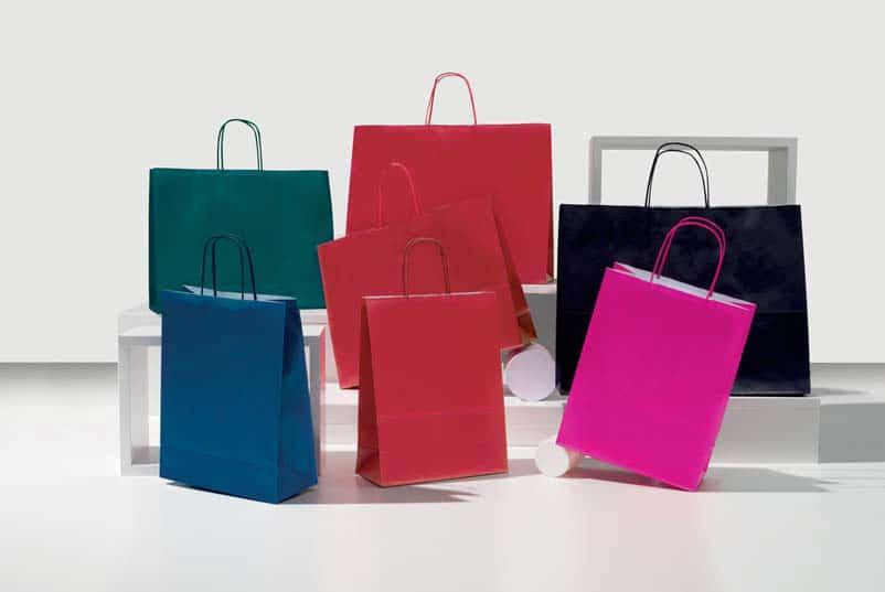 Shopper carta colorati italy maniglia ritorta
