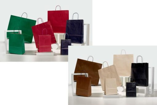 Shopper carta sealing avana colorati maniglia ritorta