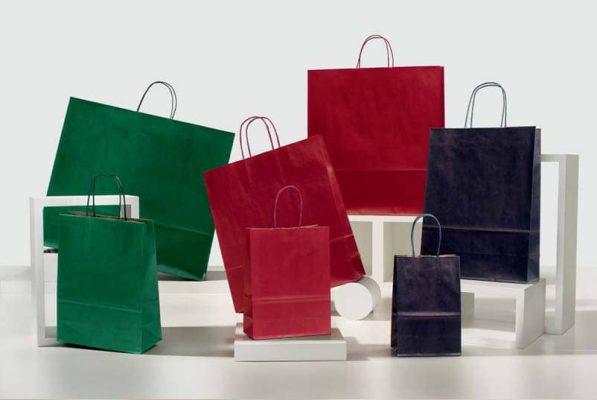 Shopper carta sealing colorati maniglia ritorta colorata