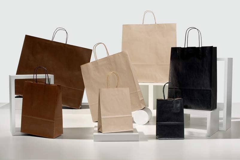 Shopper carta sealing colorati maniglia ritorta colorata colori scuri