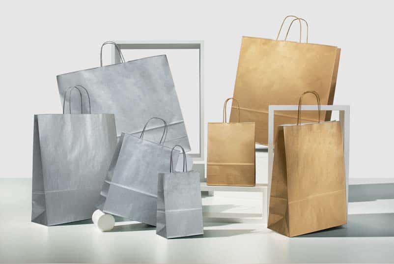 Shopper in carta argento oro maniglia ritorta