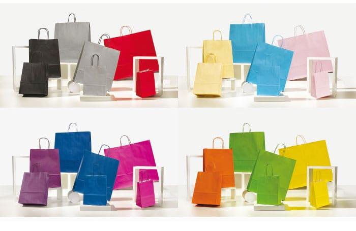 Shopper personalizzate carta maniglia ritorta colorati