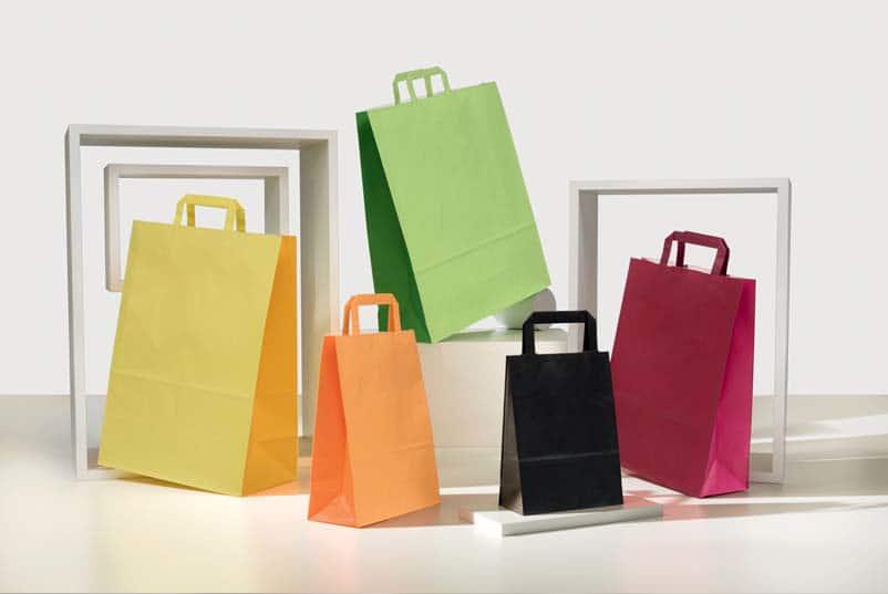 Shoppers personalizzate carta bicolore maniglia piatta