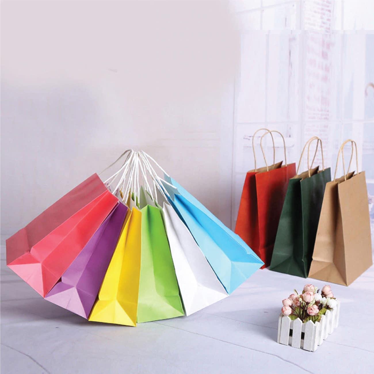 shopper maniglia ritorta colorati background