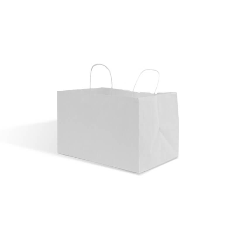 buste personalizzate take away kraft bianco maniglia ritorta