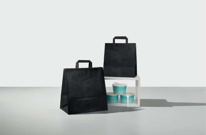 shopper take away bicolore nero maniglia piatta