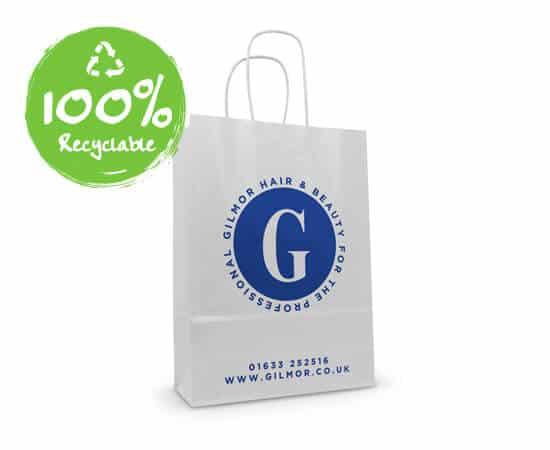 sacchetti personalizzatio kraft bianco maniglia ritorta