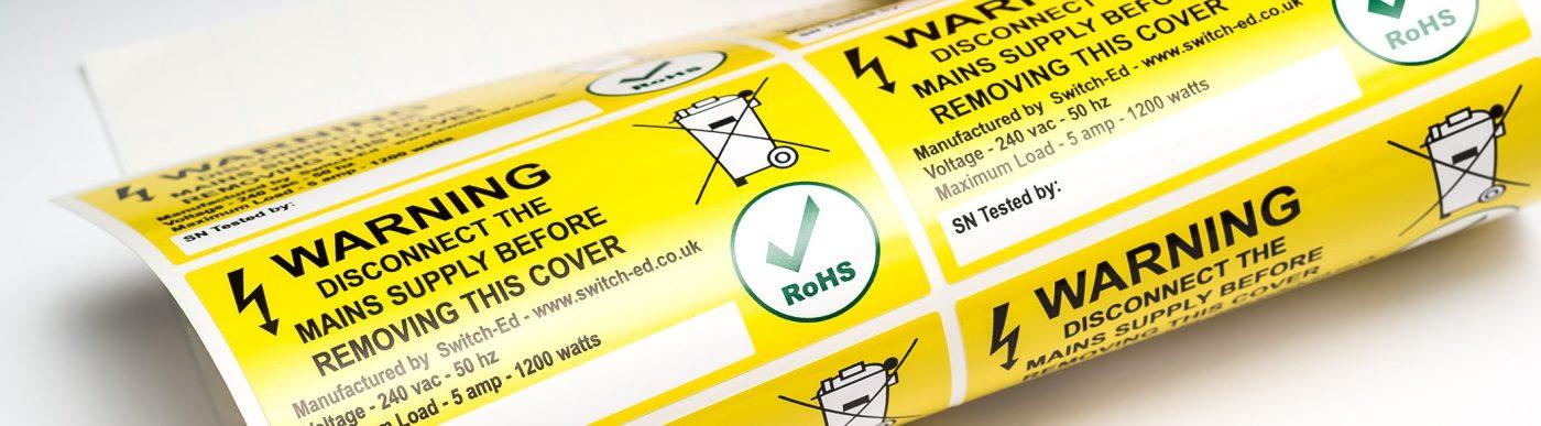 etichette adesive personalizzate di sicurezza avvertenze